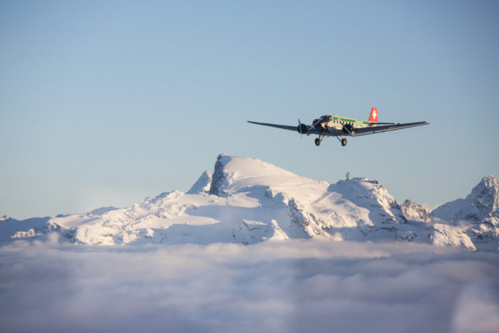 JU over fresh snowy mountains